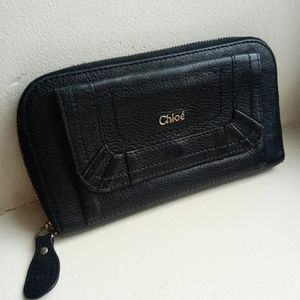 💯Auth Chloe large black leather wallet